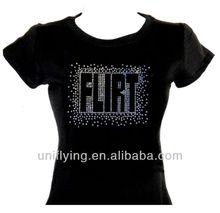 bright flirt letter sequin design for women's t-shirt