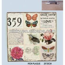 Vintage folk art flower picture& Metal wall art manufacturers