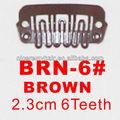 Brn- 6# varejo e atacado 23mm longo cor marrom 6 u dentes fácil snap clipes de extensões de cabelo perucas e tramas tramas