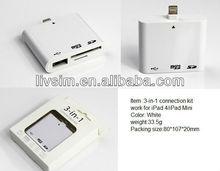 Camera kits 3-in-1 for iPad4/iPad Mini with reading SD/Micro SD card function