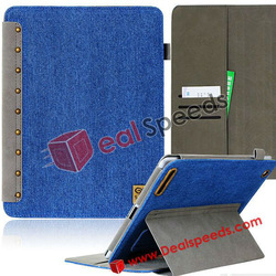 For iPad 2 Leather Case! With Card Slot Denim Jean+Imported South Korea PU Coated Stand Leather Case for iPad 2