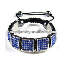 white bottom with blue rhinestone square Art clay shamballa bracelet