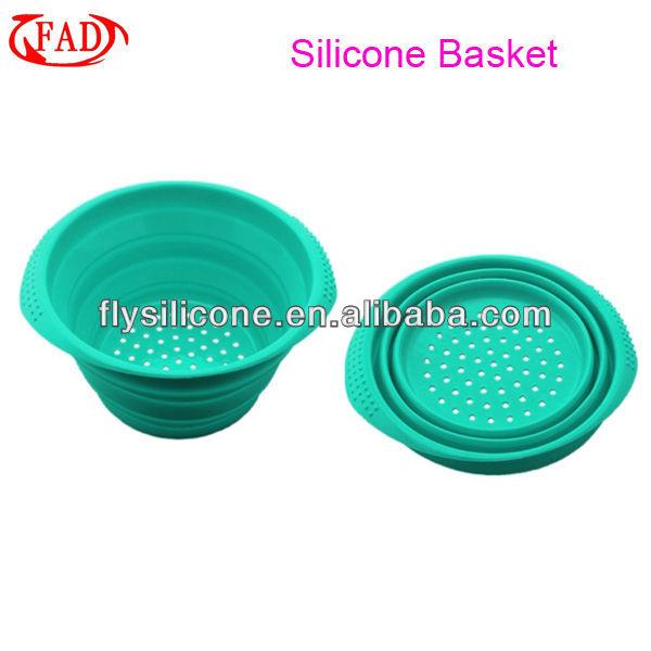 High Quality Kitchen Collapsible Basket Storage Vegetable Fruit, Blue, Silicone Multifunctional Basket, Kitchen Tool