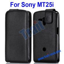 Vertical Black PU Flip Leather Case for Sony MT25i Xperia Neo L
