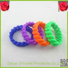 Colorful custom wristbands no minimum, Chinese doughnut Twist wrist band bracelet silicon, payment asia