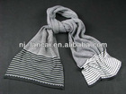 Mens double layer striped knit fine gauge scarf