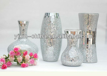 Silvery Glass Mosaic Flower Glass Vase For Home Decoration