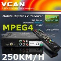 Ali 3601 hd satellite receiver DVB-T2009HD-663 portable HD Car digital DVB-T Receiver with 250KM/Hour