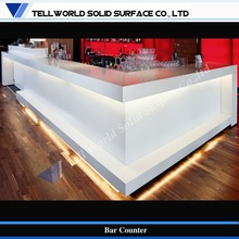 Long bending reception desk, artificial marble stone,solid surface