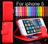 Good Quality with Card Slots Wallet flip stand leather case for iphone5