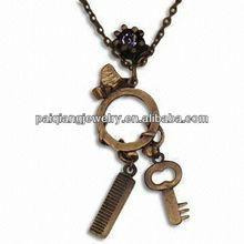 Wholesale key and lock couple chain necklace big key pendant