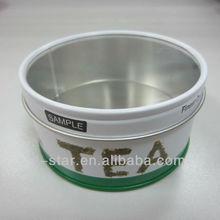 round tin box with pvc window