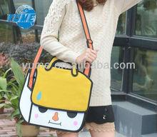 New Cute Women's Girls 2D Cartoon Bag Casual Tote Shoulder Crossbody Bags yellow/white