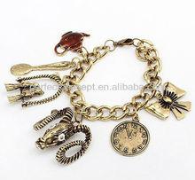 goat charm bracelet bird clock bow sppon pot charm