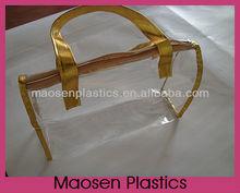 soft pvc girls toiletry bag with gold edge,pvc plastics bag