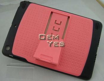 2013 Hybrid Kickstand Silicone + PC Hard Case For iPad Mini