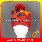 Colorful winter hats kinnted with ball on top