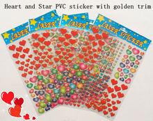 Heart, Star PVC sticker with golden trim