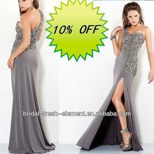 Hot Sale Long Sweetheart One Shoulder Beaded Grey Color Evening Dress