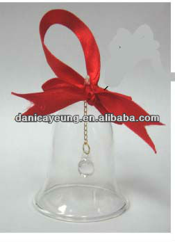 glass bell with ribbon
