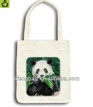 Panda Snacking Art Tote Cotton Shopping bag