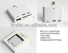 3-in-1 Connection kits for iPad4/iPad Mini with reading SD/Micro SD card function