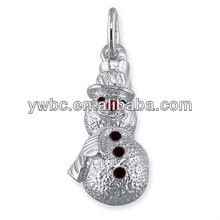 Lovely Snowman With Colorized Black Eyes and Red Nose Alloy Charm Jewelry