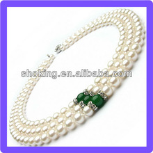 Triple Strand Expensive Jewelry Made Of AA Grade 7-8mm Round Shape White Pearls And Green Agates