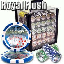 Royal Flush Casino Sticker ABS Poker Chip Set with Acrylic Case - 1000 Piece