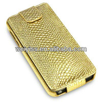 WHOLESALE PRICE GOLD SNAKESKIN PU LEATHER FLIP CASE FOR IPHONE5