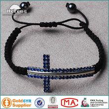 Wholesale Shamballa Crystal Sideways Cross Bracelet