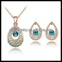 Sparkling Rhinestone Swirl & Crystal Necklace & Earrings Jewelry sets