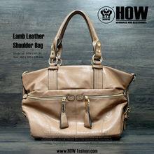 2013 SS HOW Lamb Leather Shoulder bag in Camel Color