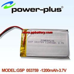 High safety, no burning lithium 1200mAh /3.7v polymer batteries charging 053759
