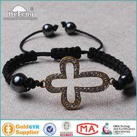 Hollow Crystal Sideway Cross Shambala Beads Bracelet