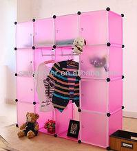 Red DIY plastic storage , pp storage wardrobe