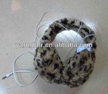 new style stuffed leopard print earmuff with headphones