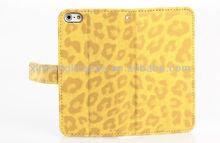 Leopard Grain Wallet Flip Leather Case for iPhone 5&5G-Deluxe