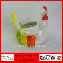 Hand Painted Ceramic Storage Jar Easter Chicken