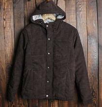 2013 Stylish plain hooded corduroy coat for man