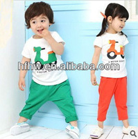 In the spring of han edition children's wear motorcycle cotton short sleeve T-shirt