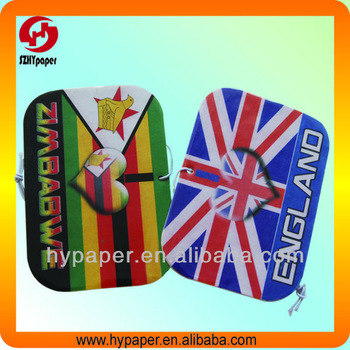 Nation flag logo printed hanging paper car air freshener