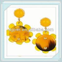 resin flower make earrings ,fashion jewelry rhinestone resin earrings, 2013 sear star earring