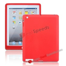 For iPad 4 Silicone Case, Soft Rubber Silicone Case for iPad 4(Red)