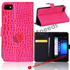 For BlackBerry BBZ10 Leahter Case Cover! Crocodile Pattern Design Stand Card Holder Leather Case Cover for BlackBerry BBZ10