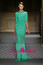 AE132108 Georges hobeika Paris show shining sequins emerald green chiffon evening dress with sleeves