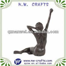 Bronze sitting female figure sculpture