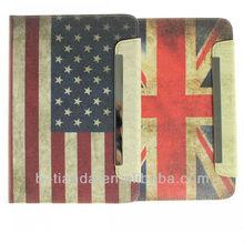retro US UK flag wallet leather case for ipad mini