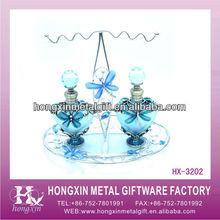 HX-3202 Blue metal butterfly glass cut glass perfume bottles perfume bottle