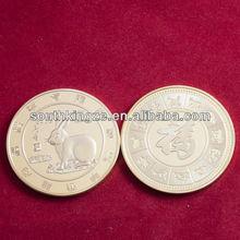 Latest design 1oz fine rabbit souvenir gold plated coins